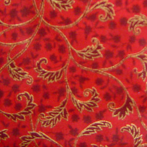 Cotton Red with Gold Pattern